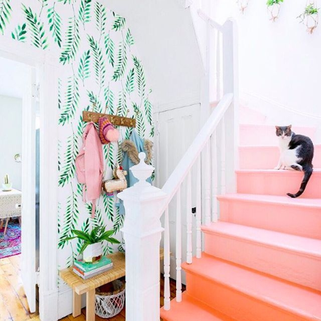 22 Gorgeous Painted Stair Ideas | Stairs Wall Paint Design | Designer | Fancy | Beautiful | Staircase Railing Wood | Wall Colour