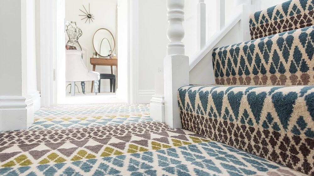 13 Best Carpet Trends For 2020   Different Carpet On Stairs To Landing   Des Kelly   Striped Carpet   Wood   Grey Carpet   Flooring
