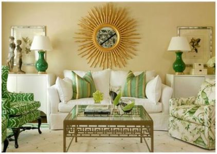 Green Living Room Ideas Green and gold living room