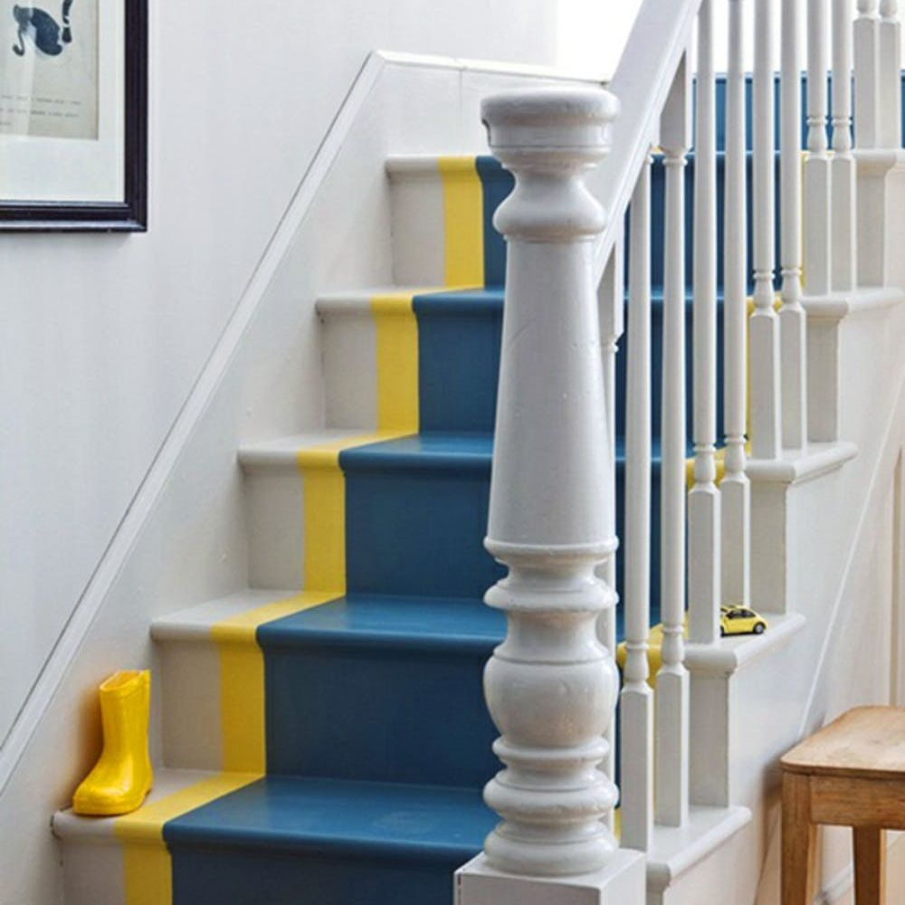 22 Gorgeous Painted Stair Ideas | Two Tone Wood Stairs | Timber | Partially Carpeted | White Back | Diy | Rug
