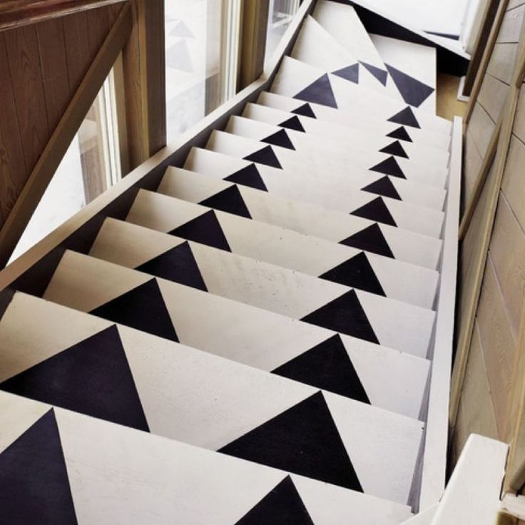 22 Gorgeous Painted Stair Ideas | Black And White Stair Carpet | Interior Design | Light Grey | Unusual | Design | Beautiful