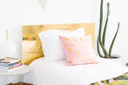 25 DIY Headboards You Can Make in a Weekend or Less DIY Faux Brass Headboard