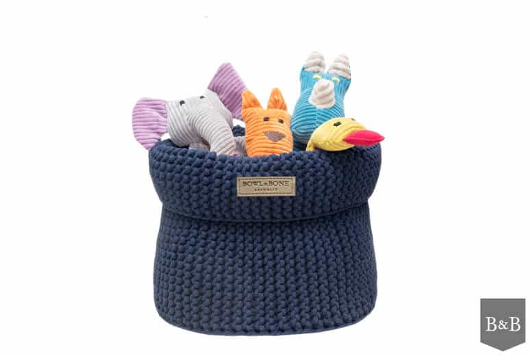 Navy Blue Cotton Dog Toy Holder The Stylish Dog Company