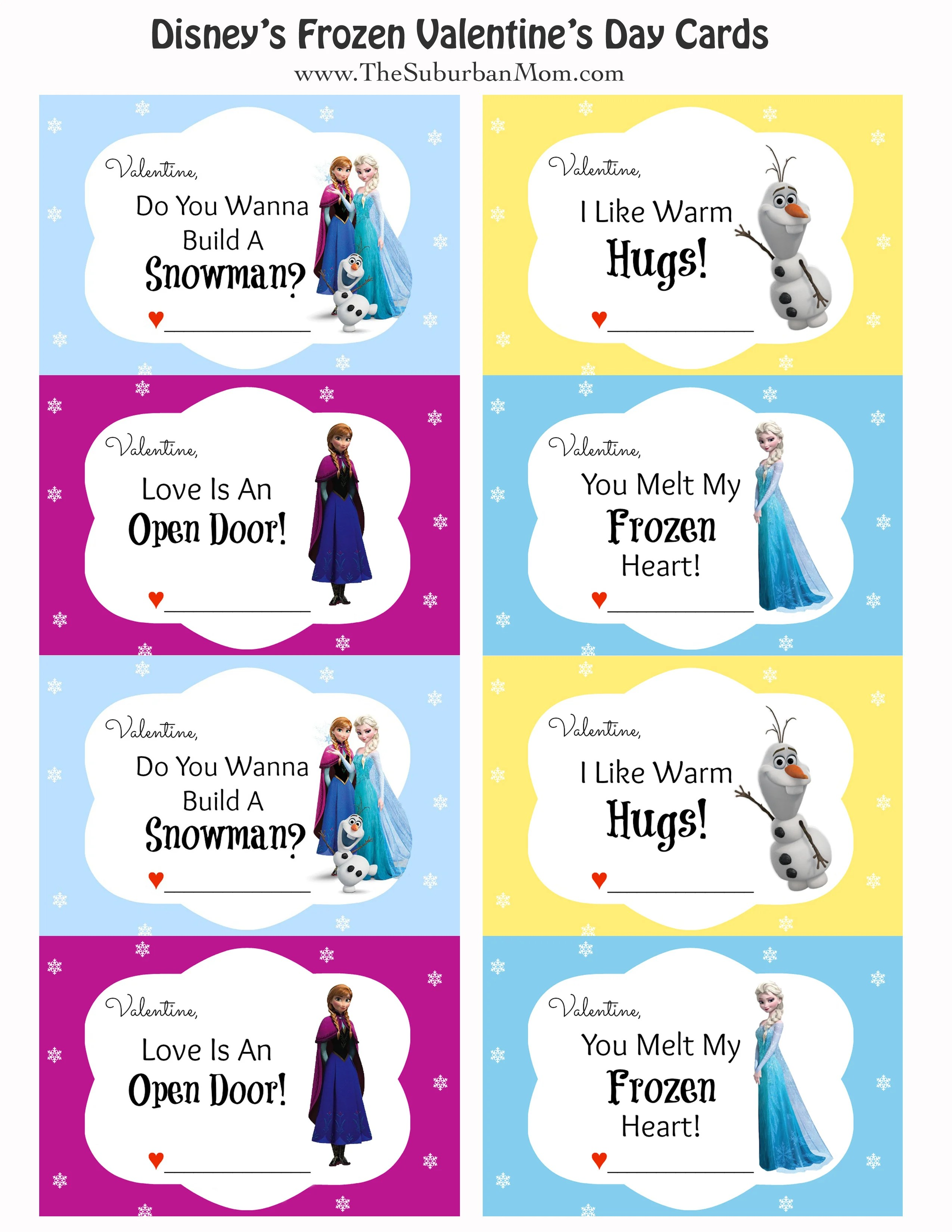 FREE Printable Disney Frozen Valentine's Day Cards ...