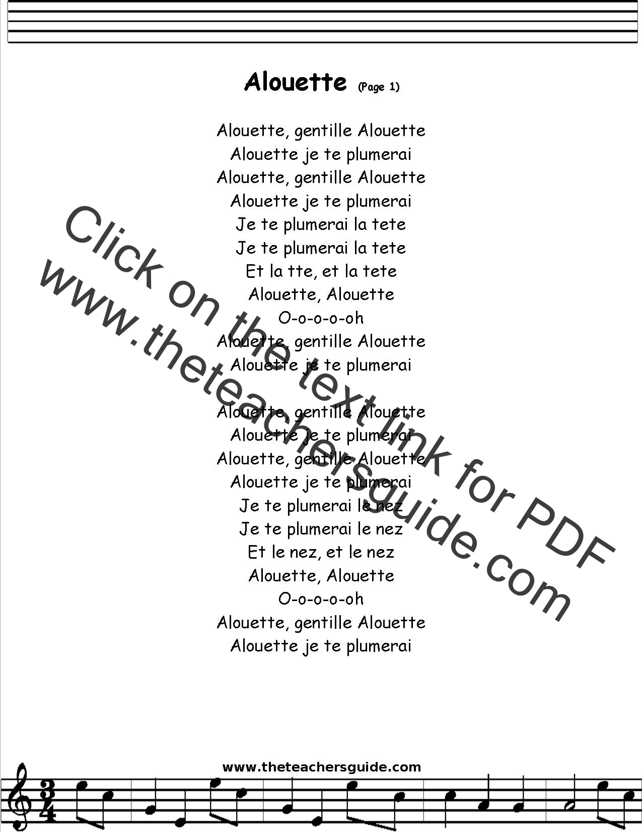 French Song Alouette Lyrics