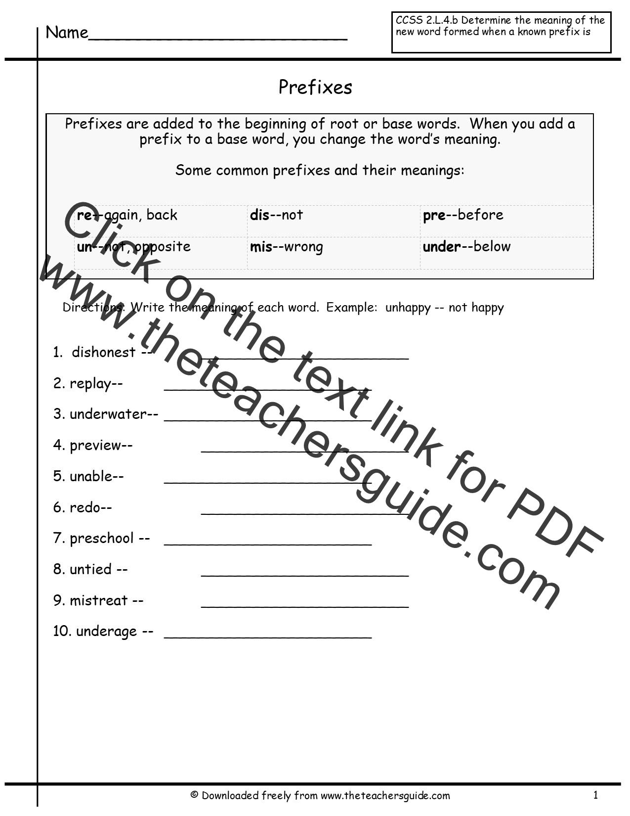 Prefixes W Ksheets 4th Gr De Free W Ksheets Libr Ry