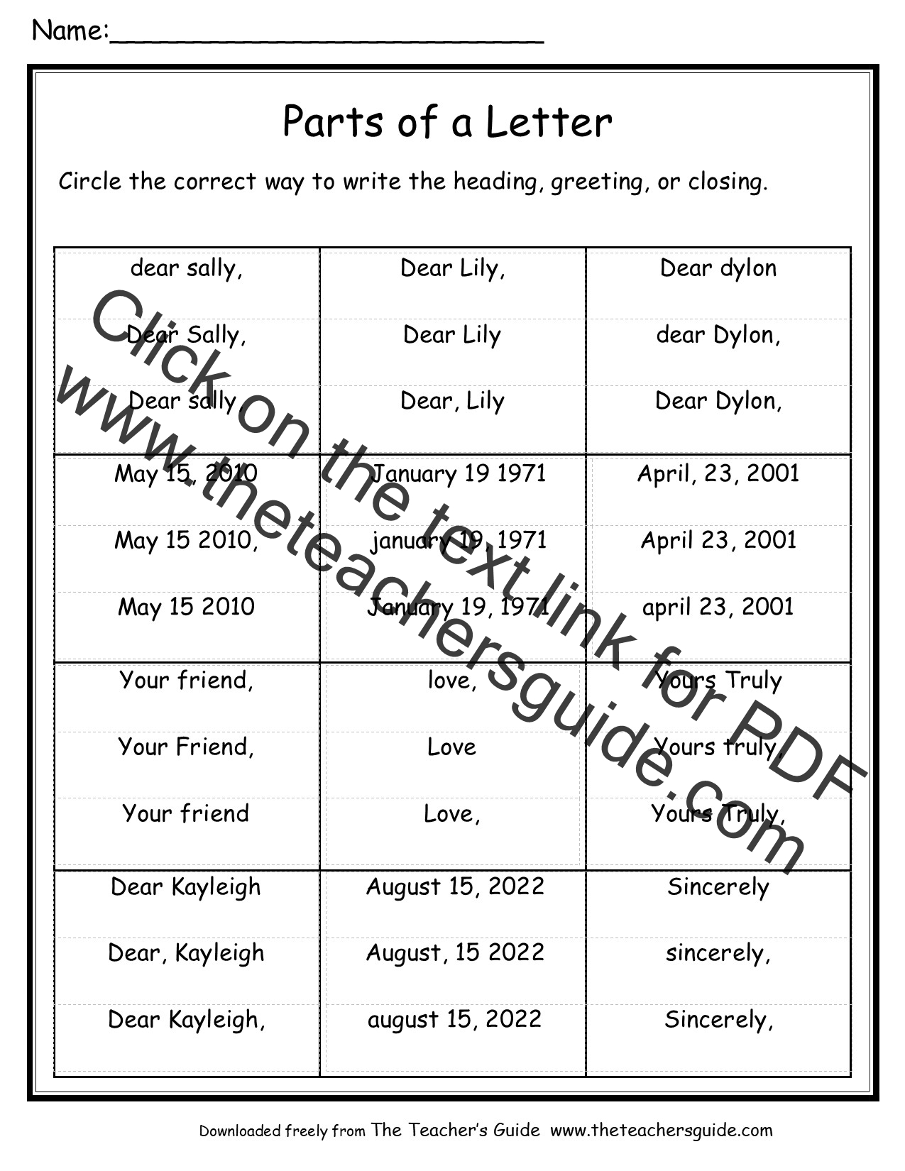 Business Letter Labeled Parts