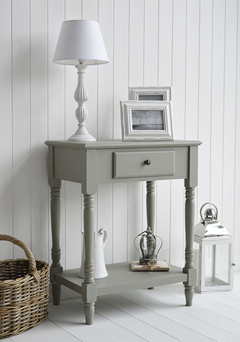 Charleston Grey Small Console Table With Drawer And Shelf