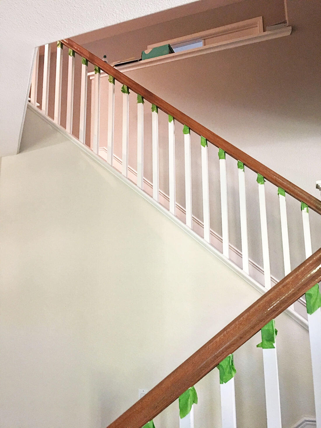 How To Paint Your Stair Railing And Banister Black From 30Daysblog | Wooden Banisters And Railings | Stairwell | Small | Industrial | Balcony | Dark Walnut