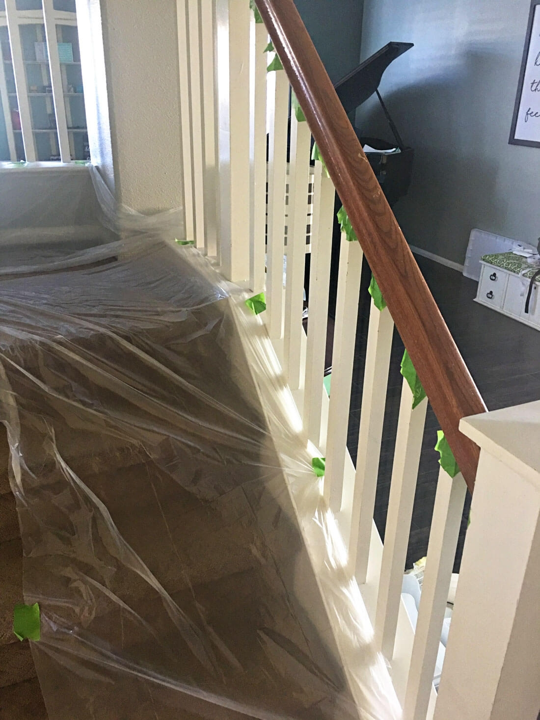 How To Paint Your Stair Railing And Banister Black From 30Daysblog   Black Banister With White Spindles   Round   Antique   Finished Painted Stair   Oak Handrail Basket   Brazilian Cherry Stair