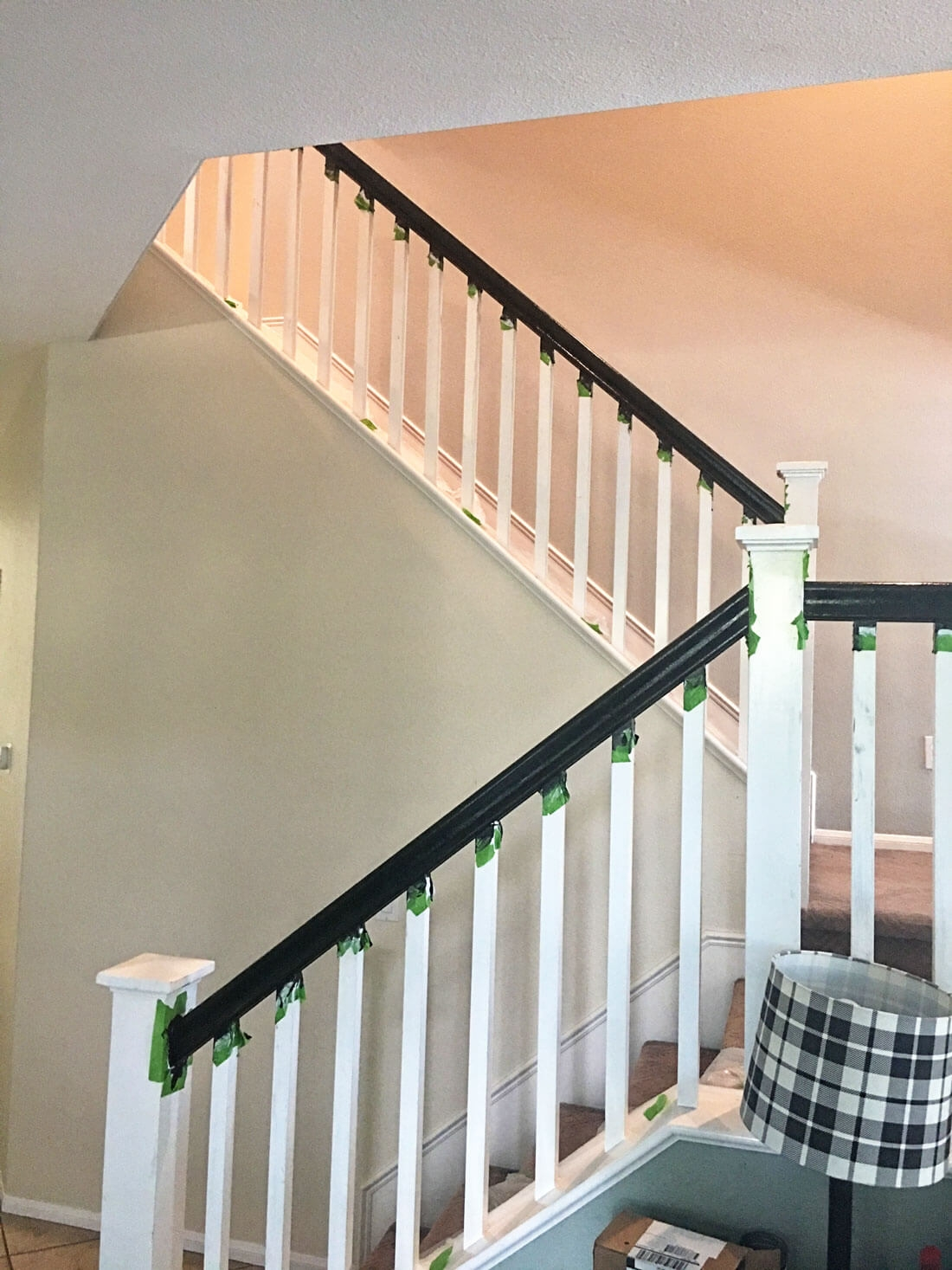 How To Paint Your Stair Railing And Banister Black From 30Daysblog | White Railing Black Spindles | Paint | Wrought Iron | Porch Railing | Iron Balusters | Aluminum Balusters