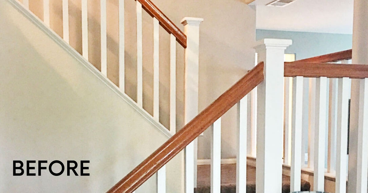 How To Paint Your Stair Railing And Banister Black From 30Daysblog | Black And White Banister | Round | Deck | Light Wood Banister | Light Grey Grey White | Wrought Iron