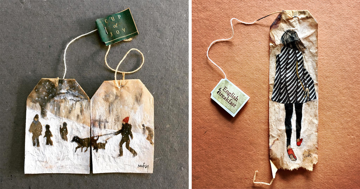 Miniature Paintings On Tea Bags By Ruby Silvious Colossal