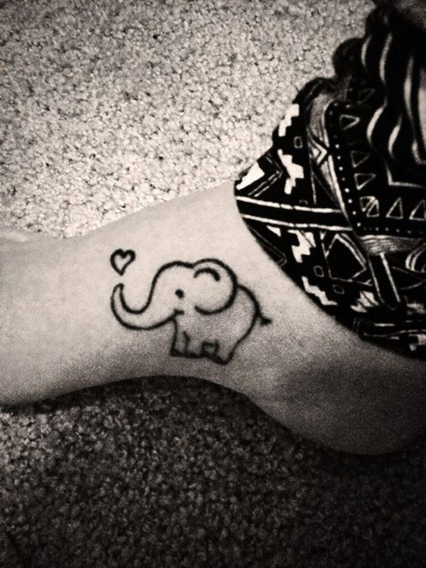 Cartoon Elephant With Heart Tiny Elephant Tattoos