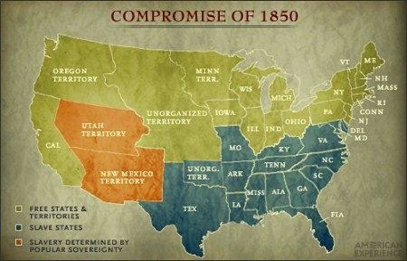 Compromise of 1850 Slavery Fugitive Slave Law Compromise Map Compromise of 1850 and Popular Sovereignty Map jpg
