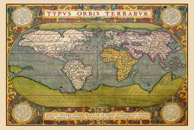 Definition of Relief in Geography Picture of a world map from 1602