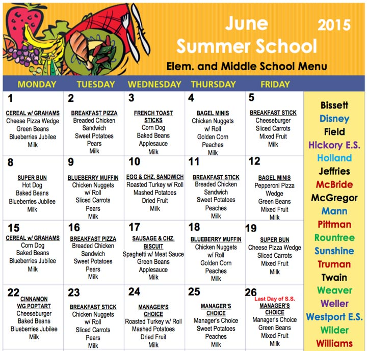 Lunch Schedule Middle School