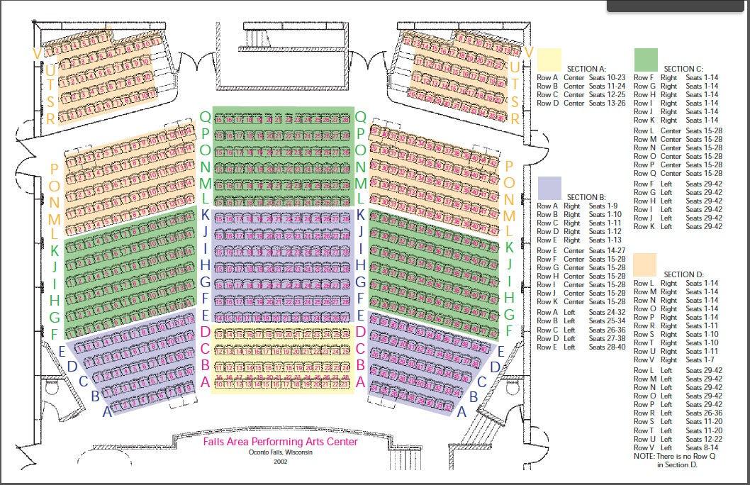 Appleton Performing Arts Center Seating Chart
