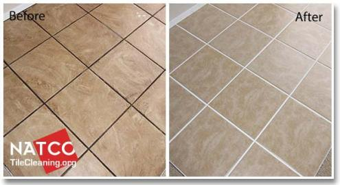 Cleaning Ceramic Tile Floors and Grout before and after cleaning ceramic tile floor