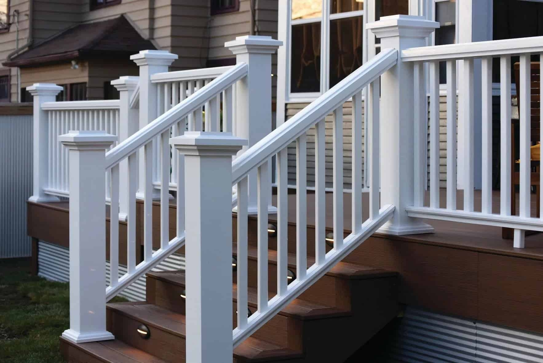 How To Install Timbertech Deck Railing Timbertech | Outside Stair Railing Installation | 3 Step | Rail | Painted Porch | Sunroom | Door Offset