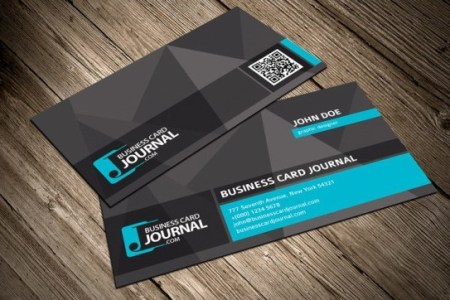 Free Dark Business Card Template With QR Code PSD   TitanUI Dark Business Card Template With QR Code PSD