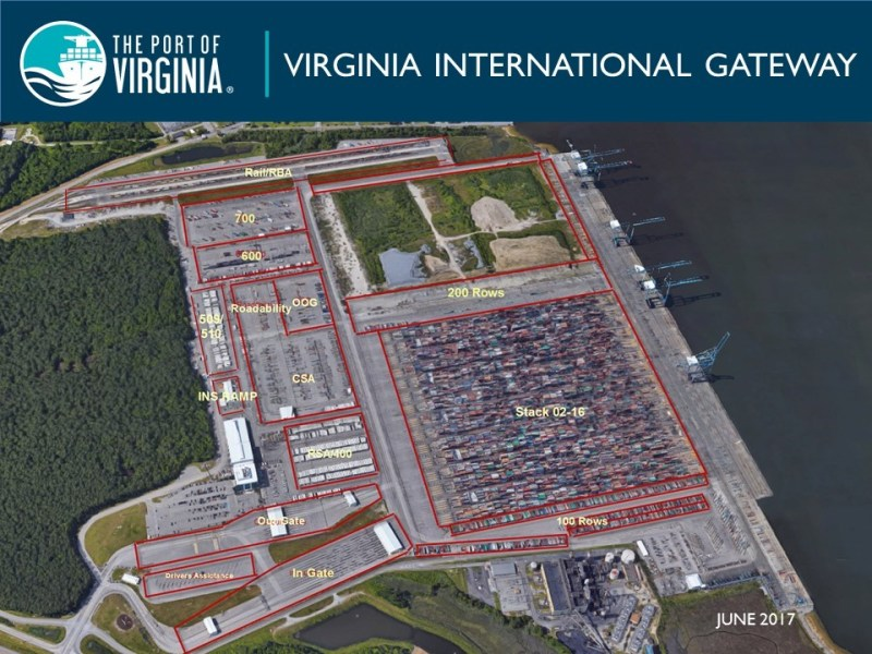 Port of Virginia     Port Maps   TMTA The Port of Virginia will not be distributing a map of Norfolk  International Terminal  other than the new north gate complex  as there  will be changes that