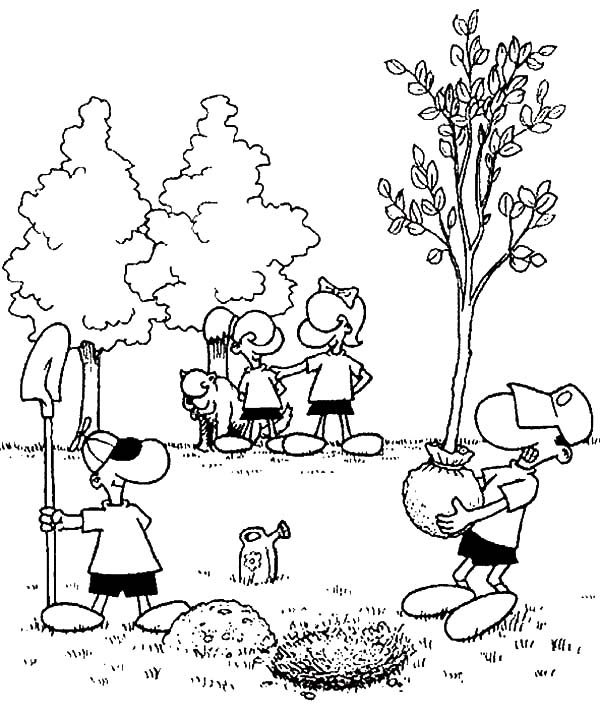 Planting Trees in the Garden on Arbor Day Coloring Pages ...
