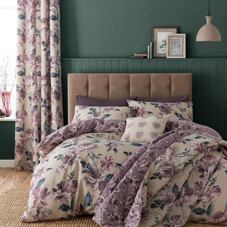 Painted Floral Reversible Duvet Cover Set Plum