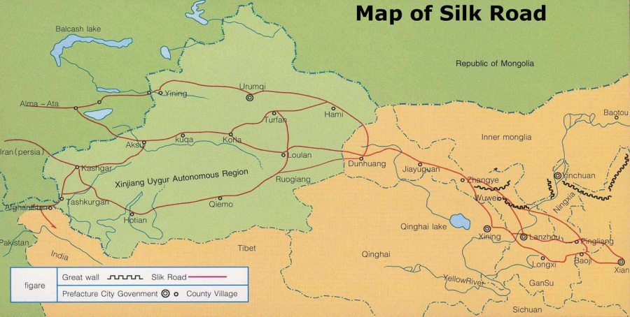 Silk Road Map  The Map of Ancient Silk Road with Major Cities Silk Road Map