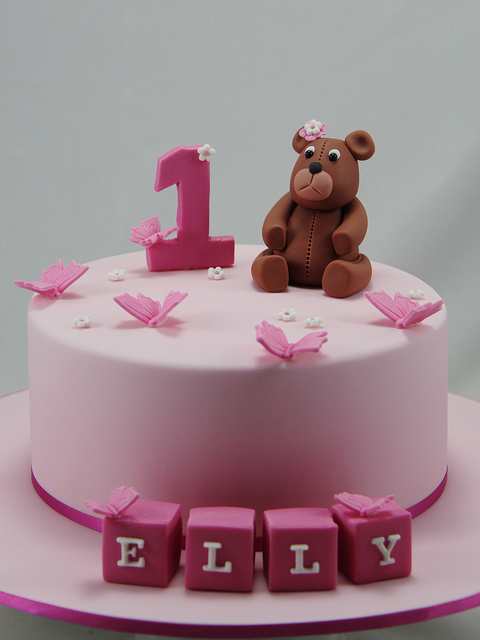 1st Birthday Cake Baby Girl Cartoon