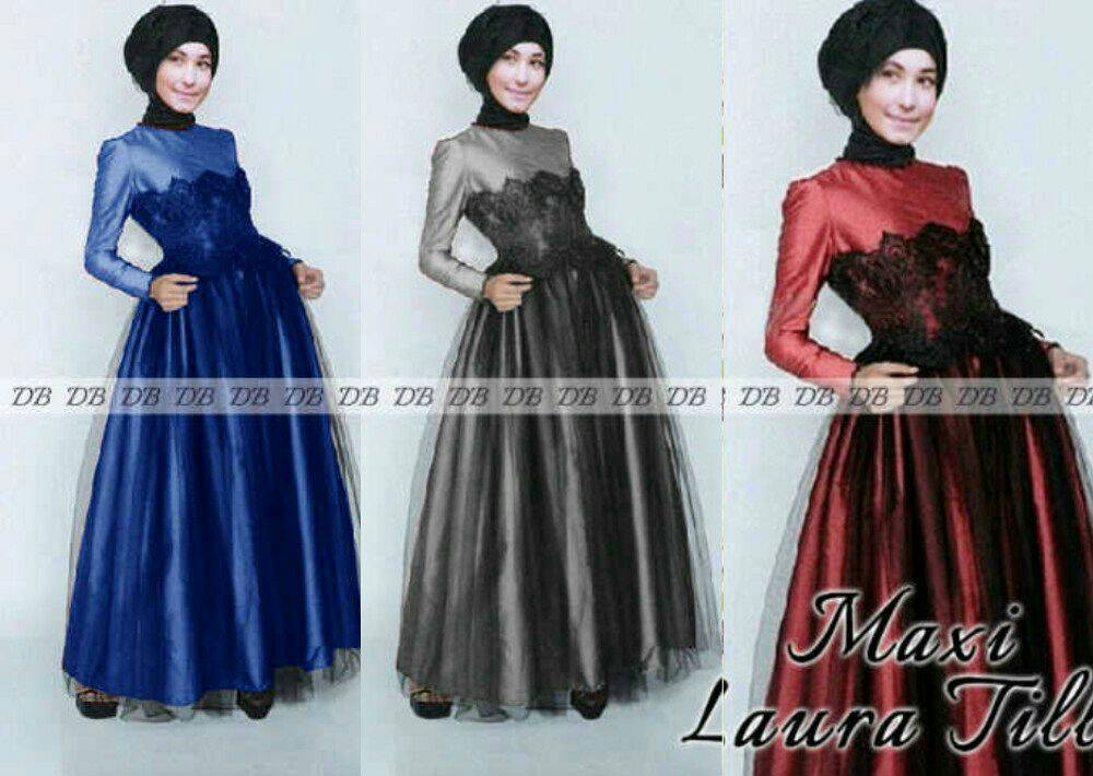 Baju Long Dress Muslim Hijab Maxi Tile Laura Model Terbaru