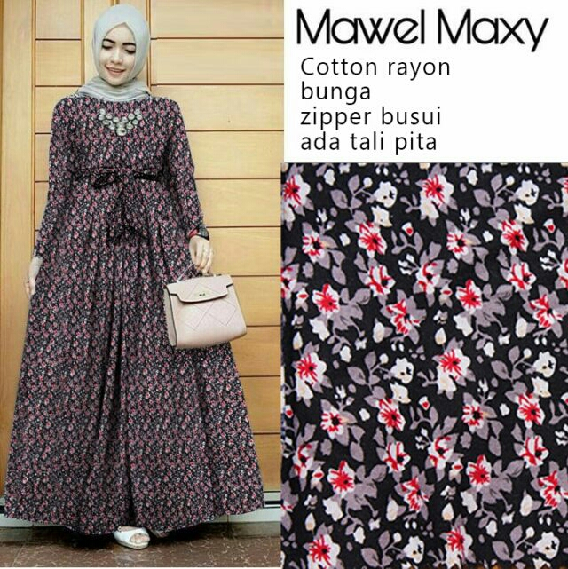 Model Baju Gamis Long Dress Muslim Terbaru Motif Bunga
