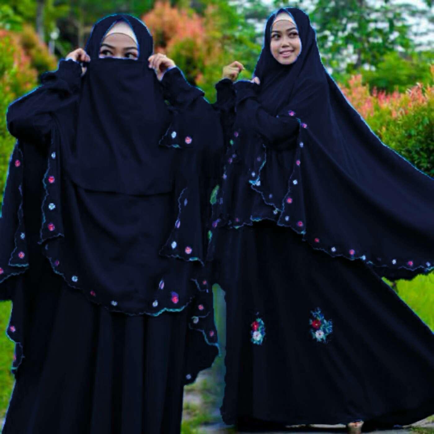 30 Model Baju Gamis Syari Hitam Fashion Modern Dan Terbaru