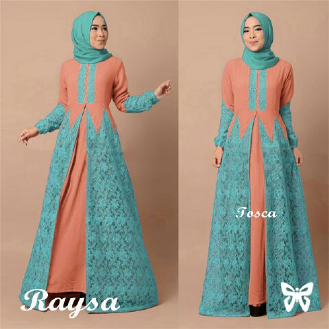 Image Result For Model Gamis Kombinasi Dua Warna