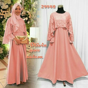 Model Baju Gamis Long Dress Muslim Cape Brukat Modern Terbaru