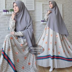 Setelan Baju Gamis Syari Muslimah Bahan Maxmara Motif Gucci Modern f11827686b