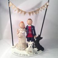 Family   Pet Cake Toppers   Totally Toppers com A just married couple with their dogs under bunting
