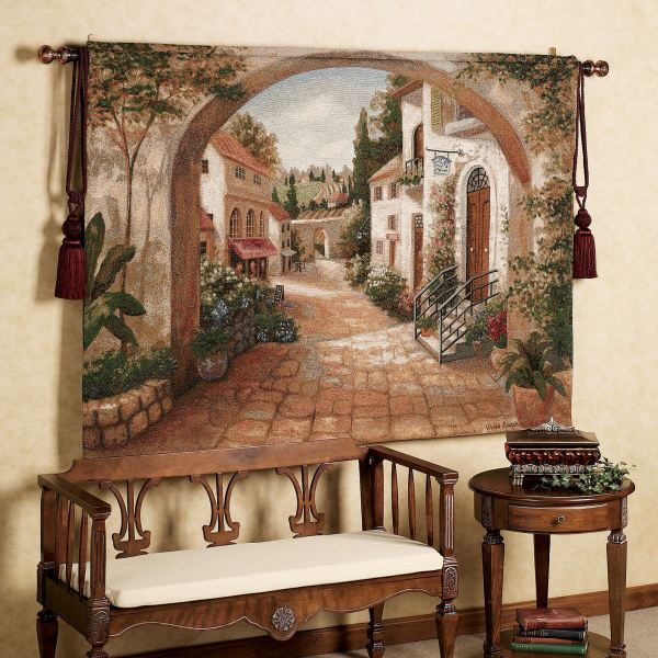 Tuscan Italian Style Home Decorating and Tuscan Decorating Tips     Quaint Town Wall Tapestry      Tuscan Vineyards Placemats