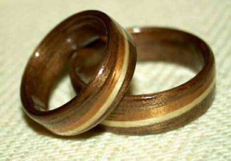Eco Friendly Wood Rings Black Walnut Wood rings by Touch Wood Rings