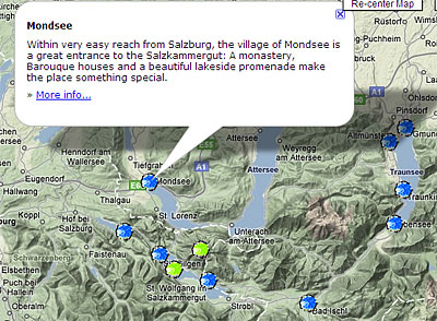 Austria Map   Travel Maps of Austria A snapshot from my Austria map  Combining TMyC knowledge with Google Map  information