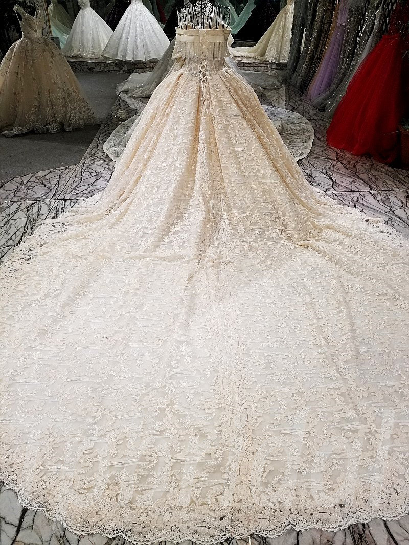 Champagne Lace Wedding Dress With Long Train For Sale