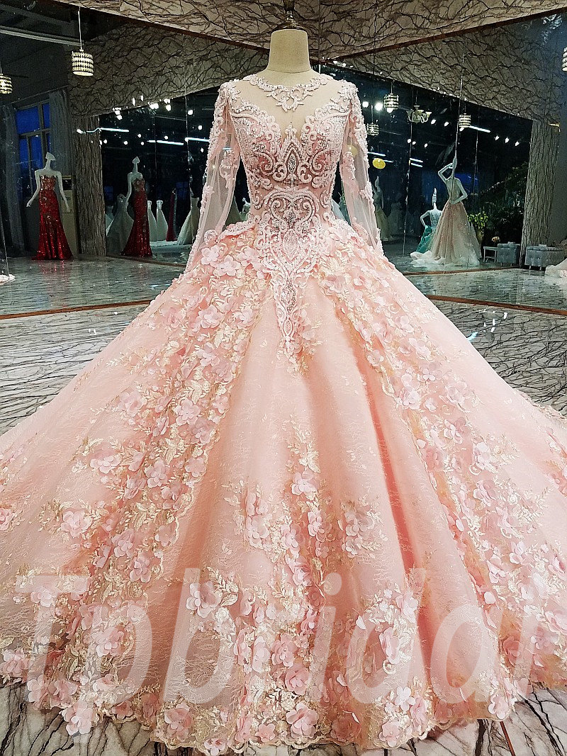 Pink Wedding Dress Plus Size Long Sleeve Ball Gown Bridal Dress