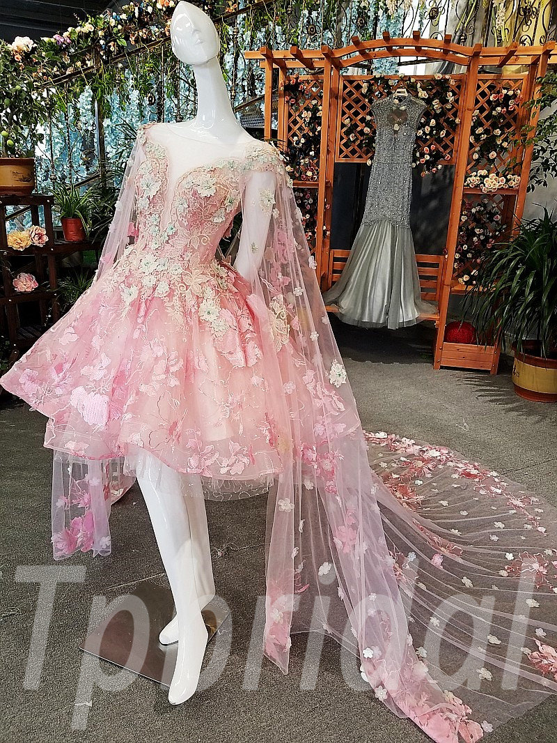 Prom Dress Pink High Low Party Dress With Train Online • tpbridal