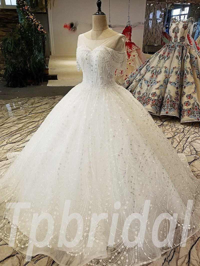 Ball Gown Wedding Dress With Bling Off Shoulder Ivory Bridal Dress