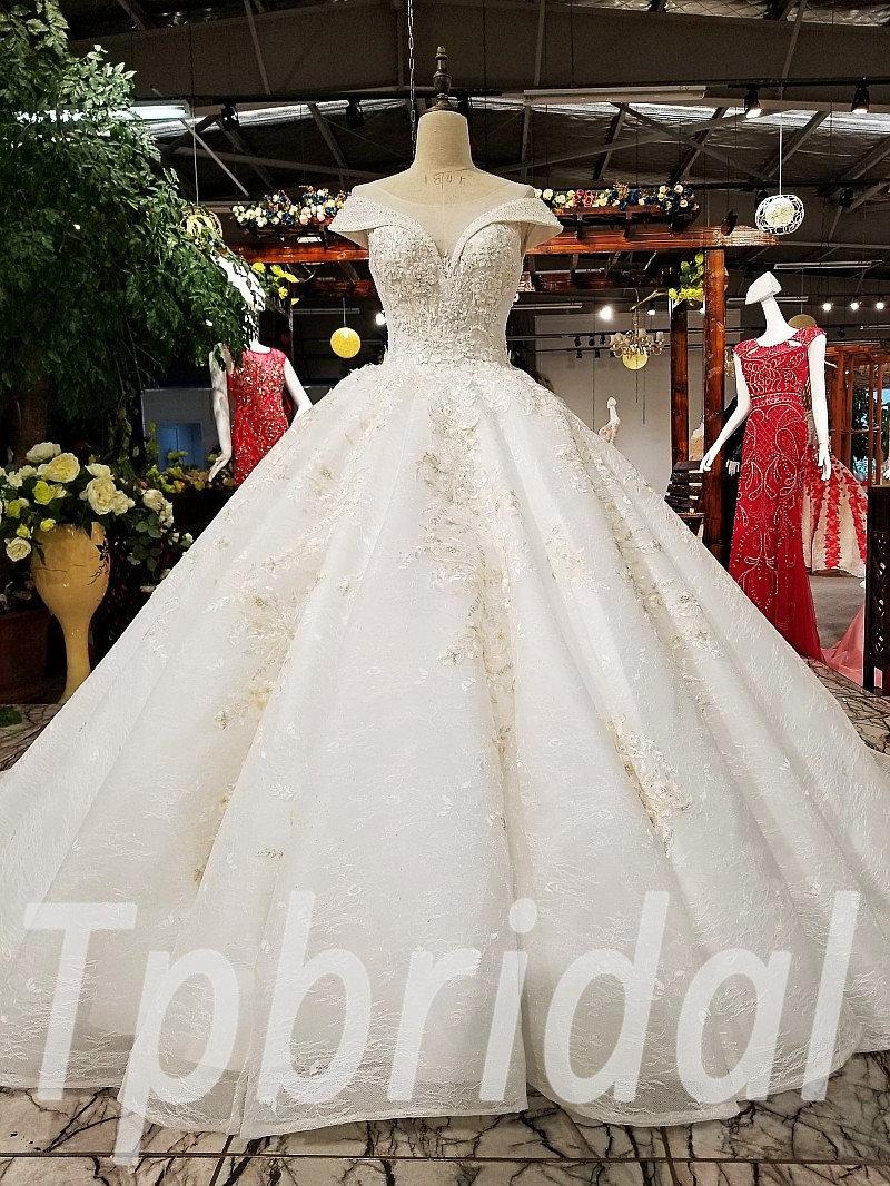 Ivory Wedding Dress Lace Ball Gown Princess Long Train