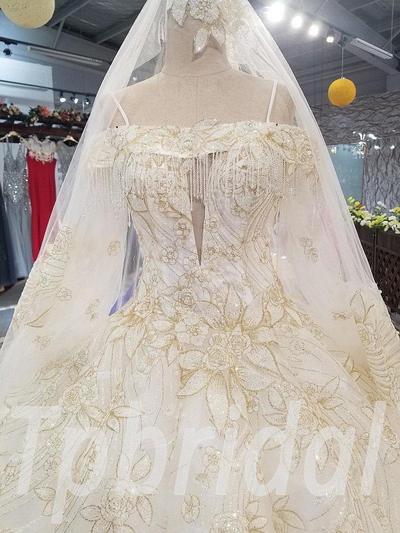 Ball Gown Wedding Dress With Long Train Luxury Bridal Dress