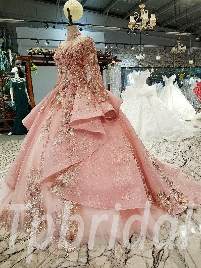 Ball Gowns Pink Wedding Dress A Line Custom Made Long Sleeve