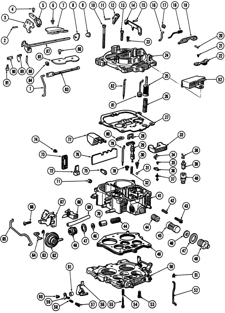 1966 69 quadrajet 4 barrel carburetor illustrated parts break down rh tpocr quadrajet vacuum diagram gm quadrajet carburetor diagram