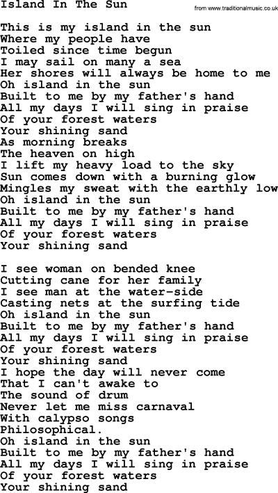 Joan Baez song - Island In The Sun, lyrics