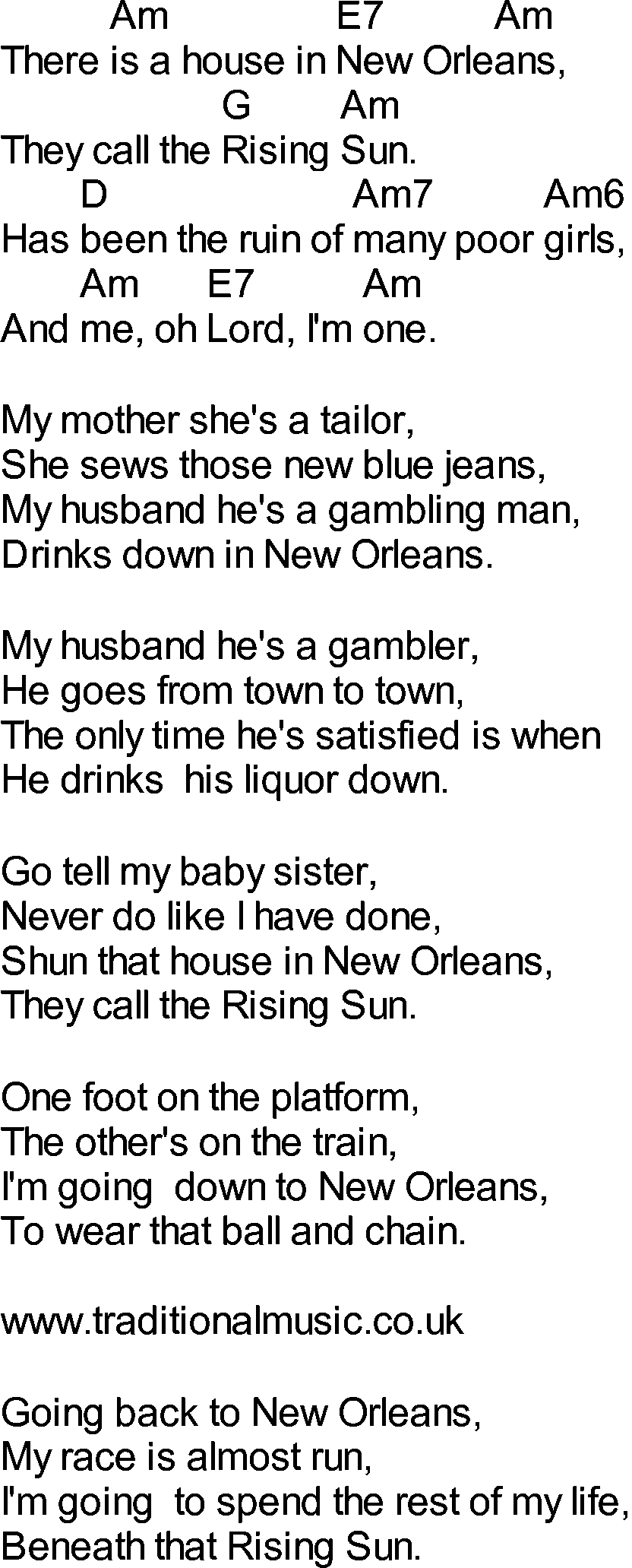 House Rising Sun Lyrics